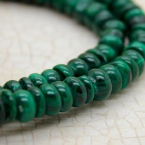 Shop Malachite Beads! Malachite Rondelle Smooth Natural Gemstone Beads | Natural genuine beads Malachite beads for beading and jewelry making.  #jewelry #beads #beadedjewelry #diyjewelry #jewelrymaking #beadstore #beading #affiliate #ad