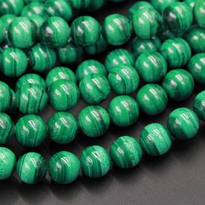 "Real Genuine Natural Green Malachite Round Beads 4mm 6mm 8mm 10mm AAA Grade Natural Malachite Gemstone From Congo 15.5"" Strand 