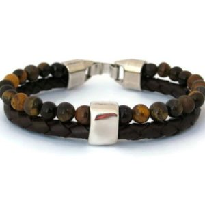 Shop Tiger Eye Bracelets! Mens Tiger Eye Bracelet, Mens Leather bracelet, Strand Mens Bracelet, Mens Beaded Bracelet, Mens Braided Leather Bracelet, Gift for fathers | Natural genuine Tiger Eye bracelets. Buy handcrafted artisan men's jewelry, gifts for men.  Unique handmade mens fashion accessories. #jewelry #beadedbracelets #beadedjewelry #shopping #gift #handmadejewelry #bracelets #affiliate #ad