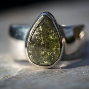 Shop Moldavite Rings! Moldavite Ring 8.5 – Moldavite Half Raw Half Smooth Ring Size 8.5 – Moldavite Ring Size 8.5 – Moldavite Ring – Modavite | Natural genuine Moldavite rings, simple unique handcrafted gemstone rings. #rings #jewelry #shopping #gift #handmade #fashion #style #affiliate #ad