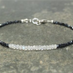 Shop Moonstone Bracelets! Mystic Black Spinel & Rainbow Moonstone Bracelet, Layering, Minimalist, Mystic Black Spinel Jewelry, Gemstone Bracelet | Natural genuine Moonstone bracelets. Buy crystal jewelry, handmade handcrafted artisan jewelry for women.  Unique handmade gift ideas. #jewelry #beadedbracelets #beadedjewelry #gift #shopping #handmadejewelry #fashion #style #product #bracelets #affiliate #ad