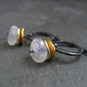 Moonstone hoops, rainbow moonstone, moonstone drops, mixed metal hoops, gemstone hoops, black gold earrings, blue flash earrings, rondelle | Natural genuine Rainbow Moonstone jewelry. Buy crystal jewelry, handmade handcrafted artisan jewelry for women.  Unique handmade gift ideas. #jewelry #beadedjewelry #beadedjewelry #gift #shopping #handmadejewelry #fashion #style #product #jewelry #affiliate #ad