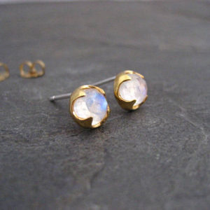 Shop Moonstone Earrings! Moonstone stud earrings, rainbow moonstone, gold studs, rose cut jewelry, genuine gemstone, blue flash studs, bezel set, round studs | Natural genuine Moonstone earrings. Buy crystal jewelry, handmade handcrafted artisan jewelry for women.  Unique handmade gift ideas. #jewelry #beadedearrings #beadedjewelry #gift #shopping #handmadejewelry #fashion #style #product #earrings #affiliate #ad