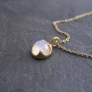 Moonstone necklace, 14k solid gold, dainty pendant, rose cut solitaire, rainbow moonstone, blue flash, blue gemstone, trending jewelry | Natural genuine Moonstone pendants. Buy crystal jewelry, handmade handcrafted artisan jewelry for women.  Unique handmade gift ideas. #jewelry #beadedpendants #beadedjewelry #gift #shopping #handmadejewelry #fashion #style #product #pendants #affiliate #ad