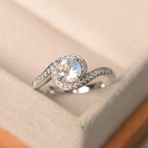 natural blue moonstone ring, white gold ring, brilliant cut ring, halo ring, engagement ring for woman | Natural genuine Array jewelry. Buy handcrafted artisan wedding jewelry.  Unique handmade bridal jewelry gift ideas. #jewelry #beadedjewelry #gift #crystaljewelry #shopping #handmadejewelry #wedding #bridal #jewelry #affiliate #ad