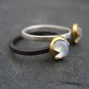 Shop Healing Gemstone Rings! Moonstone ring, rainbow moonstone, mixed metal band, solitaire ring, solid 14k gold, textured ring, thorn ring, stacking ring | Natural genuine Gemstone rings, simple unique handcrafted gemstone rings. #rings #jewelry #shopping #gift #handmade #fashion #style #affiliate #ad