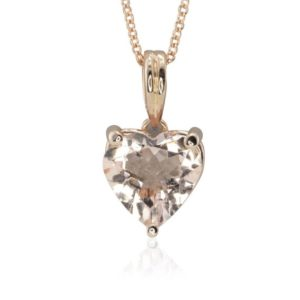 "Shop Morganite Pendants! Morganite Heart Necklace – Heart Shaped Rosy Pink Morganite Pendant with Peach Sapphire Bezels and 16"" Rose Gold Chain – LS4730 