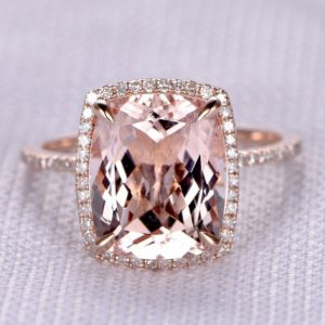 Shop Morganite Jewelry! 10x12mm Cushion BIG Morganite Engagement Ring 14k Rose gold Diamond Wedding Band Bridal Ring Promise Ring Personalized for her Custom ring | Natural genuine Morganite jewelry. Buy handcrafted artisan wedding jewelry.  Unique handmade bridal jewelry gift ideas. #jewelry #beadedjewelry #gift #crystaljewelry #shopping #handmadejewelry #wedding #bridal #jewelry #affiliate #ad