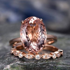 11x14mm Pink Morganite Engagement Ring Handmade Solid 14k Rose Gold Wedding Ring Real Marquise Diamond Band Promise Ring 2pc Bridal Ring Set | Natural genuine Array jewelry. Buy handcrafted artisan wedding jewelry.  Unique handmade bridal jewelry gift ideas. #jewelry #beadedjewelry #gift #crystaljewelry #shopping #handmadejewelry #wedding #bridal #jewelry #affiliate #ad
