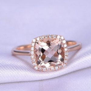 Shop Morganite Engagement Rings! 14k rose gold Morganite Engagement Ring 8mm Cushion Cut Pink Morganite Ring Plain Band Big Natural Gemstone Promise Ring Custom Ring | Natural genuine Morganite rings, simple unique alternative gemstone engagement rings. #rings #jewelry #bridal #wedding #jewelryaccessories #engagementrings #weddingideas #affiliate #ad
