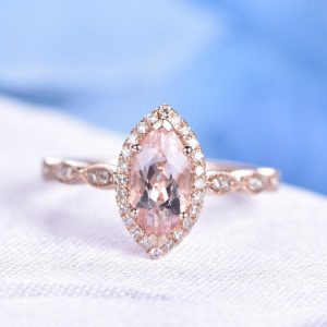 Shop Morganite Engagement Rings! 1ctw Natural Pink Morganite Engagement Ring 10x5mm Marquise Cut Stone Diamond Wedding Band Personalized for her Custome Ring | Natural genuine Morganite rings, simple unique alternative gemstone engagement rings. #rings #jewelry #bridal #wedding #jewelryaccessories #engagementrings #weddingideas #affiliate #ad