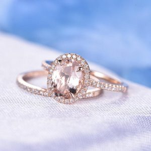 2pcs Wedding Ring Set Morganite Engagement Ring 7x9mm Oval Cut Gemstone Diamond Matching Band 14k Rose Gold Personalized for her Custom Ring | Natural genuine Gemstone rings, simple unique alternative gemstone engagement rings. #rings #jewelry #bridal #wedding #jewelryaccessories #engagementrings #weddingideas #affiliate #ad
