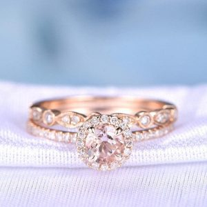 2pcs Wedding Ring Set Morganite Engagement Ring 14k Rose Gold Art Deco Diamond Matching Band Halo 5mm Stone Personalized For Her / him Custom | Natural genuine Gemstone rings, simple unique alternative gemstone engagement rings. #rings #jewelry #bridal #wedding #jewelryaccessories #engagementrings #weddingideas #affiliate #ad