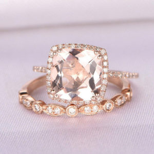 2pcs Wedding Ring Set Morganite Engagement Ring 9mm Big Cushion Cut Main Stone Diamond Matching Band 8-PRONGS 14k Rose Gold Bridal Ring Set | Natural genuine Gemstone rings, simple unique alternative gemstone engagement rings. #rings #jewelry #bridal #wedding #jewelryaccessories #engagementrings #weddingideas #affiliate #ad