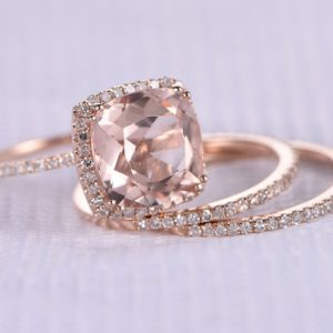 Shop Morganite Jewelry! 3pcs Wedding Ring Set Morganite Engagement Ring 9mm Big Cushion Morganite 14k Rose gold Diamond Matching Band 8-PRONGS Stacking Ring | Natural genuine Morganite jewelry. Buy handcrafted artisan wedding jewelry.  Unique handmade bridal jewelry gift ideas. #jewelry #beadedjewelry #gift #crystaljewelry #shopping #handmadejewelry #wedding #bridal #jewelry #affiliate #ad