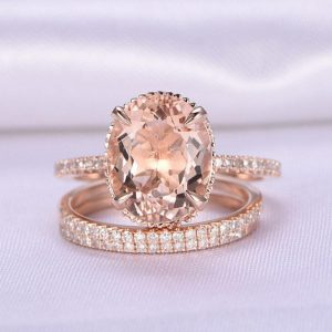 Shop Morganite Engagement Rings! 3pcs Wedding Ring Set Morganite Engagement Ring 9x11mm big Oval Stone Half Eternity Diamond Matching Band 14k Rose Gold Personalized for her | Natural genuine Morganite rings, simple unique alternative gemstone engagement rings. #rings #jewelry #bridal #wedding #jewelryaccessories #engagementrings #weddingideas #affiliate #ad