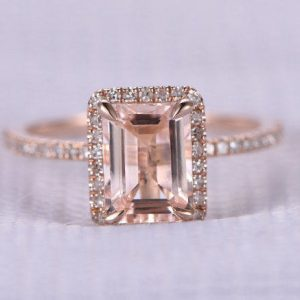 Shop Morganite Engagement Rings! 6x8mm Pink Morganite Engagement Ring Diamond Wedding Band Emerald Cut Morganite Solid 14k Rose Gold Stacking Ring Promise Ring Anniversary | Natural genuine Morganite rings, simple unique alternative gemstone engagement rings. #rings #jewelry #bridal #wedding #jewelryaccessories #engagementrings #weddingideas #affiliate #ad