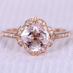 Shop Morganite Jewelry! 7mm Cushion Cut Morganite Engagement Ring Solid 14k Rose Gold Gemstone Diamond Wedding Band Bridal Ring Art Deco Retro Vintage Floral | Natural genuine Morganite jewelry. Buy handcrafted artisan wedding jewelry.  Unique handmade bridal jewelry gift ideas. #jewelry #beadedjewelry #gift #crystaljewelry #shopping #handmadejewelry #wedding #bridal #jewelry #affiliate #ad