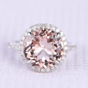 Shop Morganite Engagement Rings! 9mm Big Morganite Engagement Ring Round Cut Morganite Ring 14k Rose Gold Floating Halo Design Diamond Wedding Ring Claw Prongs Custom Ring | Natural genuine Morganite rings, simple unique alternative gemstone engagement rings. #rings #jewelry #bridal #wedding #jewelryaccessories #engagementrings #weddingideas #affiliate #ad