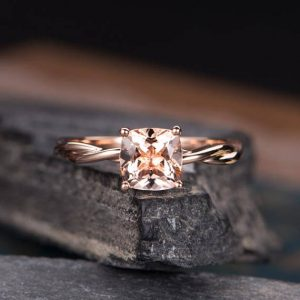 Cushion Cut Morganite Ring Infinity Engagement Ring Rose Gold  Solitaire PlainIn Promise Ring Bridal Wedding Anniversary Women | Natural genuine Gemstone rings, simple unique alternative gemstone engagement rings. #rings #jewelry #bridal #wedding #jewelryaccessories #engagementrings #weddingideas #affiliate #ad