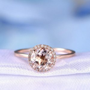 Shop Morganite Engagement Rings! Morganite Engagement Ring 14k Plain Rose Gold 7mm Round Morganite Ring Bridal Ring Personalized for her/him Custom ring,promise ring | Natural genuine Morganite rings, simple unique alternative gemstone engagement rings. #rings #jewelry #bridal #wedding #jewelryaccessories #engagementrings #weddingideas #affiliate #ad