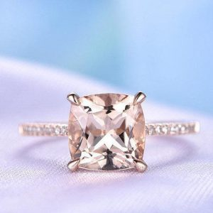 Shop Morganite Jewelry! Morganite Engagement ring 14k Rose gold 8mm Cushion cut Pink Morganite Promise Bridal Ring Diamond Wedding Band Diamond Accent Claw Prongs | Natural genuine Morganite jewelry. Buy handcrafted artisan wedding jewelry.  Unique handmade bridal jewelry gift ideas. #jewelry #beadedjewelry #gift #crystaljewelry #shopping #handmadejewelry #wedding #bridal #jewelry #affiliate #ad