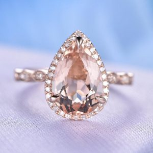 Shop Morganite Engagement Rings! Morganite Engagement Ring 8x12mm Pear Cut Morganite Ring Diamond Wedding Band Art Deco Antique Style Marquise 14k Rose Gold Bridal Ring | Natural genuine Morganite rings, simple unique alternative gemstone engagement rings. #rings #jewelry #bridal #wedding #jewelryaccessories #engagementrings #weddingideas #affiliate #ad