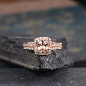 Shop Morganite Engagement Rings! Morganite Engagement Ring Bridal Set Rose Gold Cushion Cut Ring Halo Diamond Eternity Wedding Band Anniversary Gift For Her Women 2Pcs | Natural genuine Morganite rings, simple unique alternative gemstone engagement rings. #rings #jewelry #bridal #wedding #jewelryaccessories #engagementrings #weddingideas #affiliate #ad