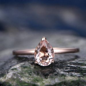 Shop Morganite Engagement Rings! Morganite engagement ring handmade solid 14k rose gold ring solitaire stacking band 6x8mm tear drop gemstone promise ring bridal ring | Natural genuine Morganite rings, simple unique alternative gemstone engagement rings. #rings #jewelry #bridal #wedding #jewelryaccessories #engagementrings #weddingideas #affiliate #ad