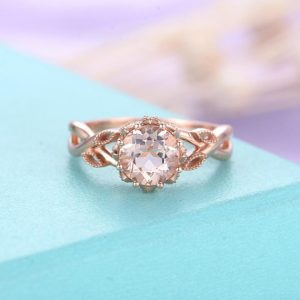 Morganite Engagement Ring Rose Gold Engagement Ring Vintage Art Deco Antique Diamond Wedding Ring Women Bridal Jewelry Anniversary Gift | Natural genuine Morganite rings, simple unique alternative gemstone engagement rings. #rings #jewelry #bridal #wedding #jewelryaccessories #engagementrings #weddingideas #affiliate #ad