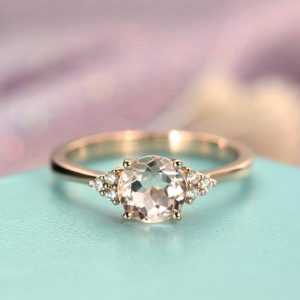 Morganite Engagement Ring Rose Gold Unique Cluster Engagement Ring Seven Stone Mini Alternative Birthstone Bridal Anniversary Gift For Women | Natural genuine Morganite rings, simple unique alternative gemstone engagement rings. #rings #jewelry #bridal #wedding #jewelryaccessories #engagementrings #weddingideas #affiliate #ad