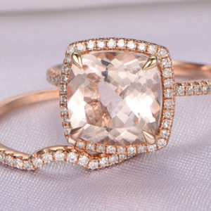Morganite Engagement Ring Set 14k Rose Gold Morganite Ring 9x9mm Cushion Cut Pink Stone Curved Diamond Wedding Band Bridal Set Wedding Ring | Natural genuine Gemstone rings, simple unique alternative gemstone engagement rings. #rings #jewelry #bridal #wedding #jewelryaccessories #engagementrings #weddingideas #affiliate #ad