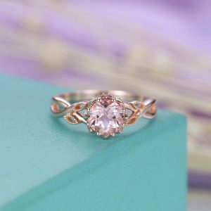 Shop Morganite Engagement Rings! Morganite Engagement Ring Vintage Rose Gold Diamond Women Wedding Jewelry Unique Leaf Art Deco Milgrain Anniversary Gift For Her Twisted | Natural genuine Morganite rings, simple unique alternative gemstone engagement rings. #rings #jewelry #bridal #wedding #jewelryaccessories #engagementrings #weddingideas #affiliate #ad