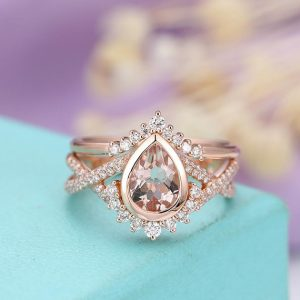 Morganite engagement ring Vintage Rose gold Wedding Women Curved Antique Pear shaped Diamond Twisted Bridal Set Anniversary gift for her | Natural genuine Morganite rings, simple unique alternative gemstone engagement rings. #rings #jewelry #bridal #wedding #jewelryaccessories #engagementrings #weddingideas #affiliate #ad