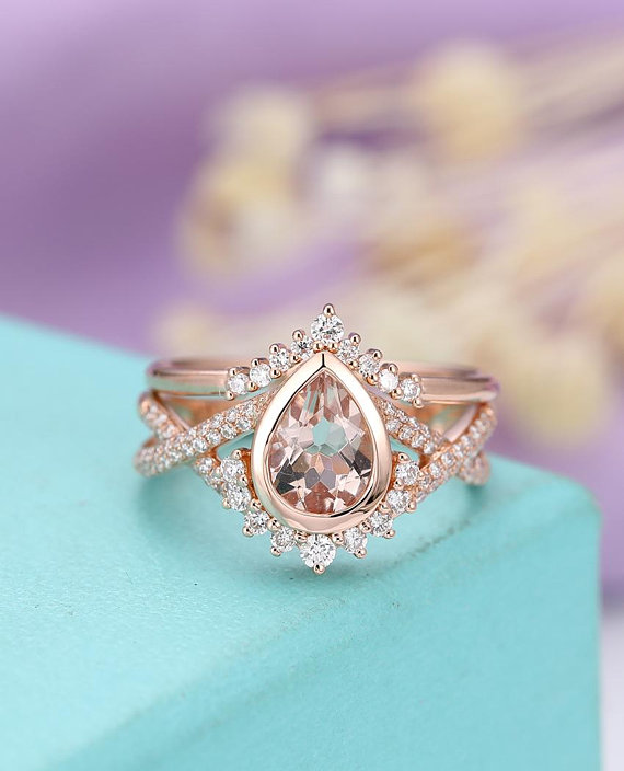 Morganite Engagement Ring Vintage Rose Gold Wedding Women Curved Antique Pear Shaped Diamond Twisted Bridal Set Anniversary Gift For Her