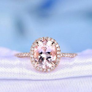 Natural Pink Morganite Engagement Ring 14k Rose Gold 7x9mm Oval Cut Gem Stone Classic Halo Diamond Wedding Ring Personalized for him/her | Natural genuine Gemstone rings, simple unique alternative gemstone engagement rings. #rings #jewelry #bridal #wedding #jewelryaccessories #engagementrings #weddingideas #affiliate #ad