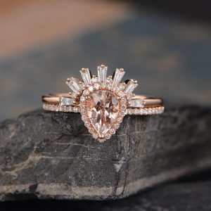 Shop Morganite Rings! Pear Shaped Morganite Engagement Ring Rose Gold Baguette Wedding Ring Bridal Set Halo Diamond Half Eternity Women Tear Drop Anniversary Gift | Natural genuine Morganite rings, simple unique alternative gemstone engagement rings. #rings #jewelry #bridal #wedding #jewelryaccessories #engagementrings #weddingideas #affiliate #ad