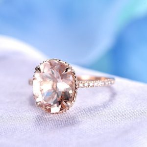 Pink Morganite Engagement Ring 9x11mm Oval Cut Morganite Ring 14k Rose Gold Diamond Wedding Band Filigree Floral Bezel Set Custom ring | Natural genuine Gemstone rings, simple unique alternative gemstone engagement rings. #rings #jewelry #bridal #wedding #jewelryaccessories #engagementrings #weddingideas #affiliate #ad