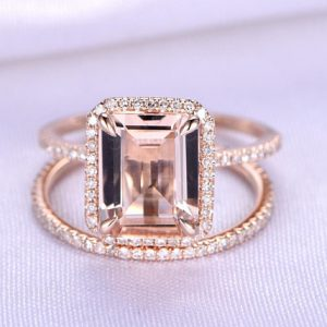 Shop Morganite Engagement Rings! Morganite Ring Set Emerald Cut Morganite Engagement Ring 8x10mm Gemstone Full Eternity Diamond Wedding Band 14k Rose Gold Custom Jewelry | Natural genuine Morganite rings, simple unique alternative gemstone engagement rings. #rings #jewelry #bridal #wedding #jewelryaccessories #engagementrings #weddingideas #affiliate #ad