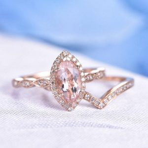 Morganite Ring Set Pink Morganite Engagement Ring 10x5mm Marquise Cut Stone V Shape Diamond Wedding Band 14k Rose Gold Wedding Ring Set | Natural genuine Array jewelry. Buy handcrafted artisan wedding jewelry.  Unique handmade bridal jewelry gift ideas. #jewelry #beadedjewelry #gift #crystaljewelry #shopping #handmadejewelry #wedding #bridal #jewelry #affiliate #ad