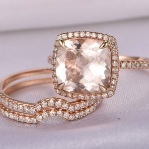 Morganite Wedding Ring Set 14k Rose gold morganite engagement ring 9x9mm Cushion Cut Pink Stone Curved Diamond Wedding Band Bridal Set | Natural genuine Gemstone rings, simple unique alternative gemstone engagement rings. #rings #jewelry #bridal #wedding #jewelryaccessories #engagementrings #weddingideas #affiliate #ad
