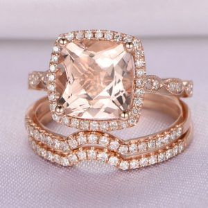 Shop Morganite Jewelry! Morganite Wedding Ring Set Rose Gold Morganite Engagement Ring 8x8mm Cushion Cut Pink Stone Diamond Curved Wedding Band 14k Rose Gold | Natural genuine Morganite jewelry. Buy handcrafted artisan wedding jewelry.  Unique handmade bridal jewelry gift ideas. #jewelry #beadedjewelry #gift #crystaljewelry #shopping #handmadejewelry #wedding #bridal #jewelry #affiliate #ad