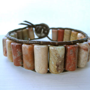 Multi Colored Stone Beaded Leather Wrap Bracelet Project
