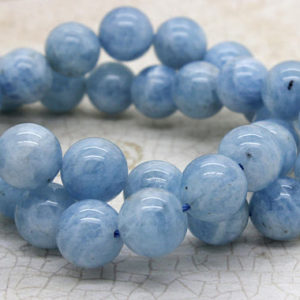 Natural Aquamarine Grade AA High Quality Blue Smooth Round Sphere Ball Gemstone Loose Beads – Full Strand | Natural genuine round Aquamarine beads for beading and jewelry making.  #jewelry #beads #beadedjewelry #diyjewelry #jewelrymaking #beadstore #beading #affiliate #ad