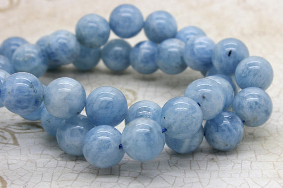 Natural Aquamarine Grade Aa High Quality Blue Smooth Round Sphere Ball Gemstone Loose Beads - Full Strand