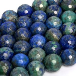 Shop Azurite Faceted Beads! Natural Azurite Loose Beads Micro Faceted Round Shape 6mm 8mm 10mm 12mm | Natural genuine faceted Azurite beads for beading and jewelry making.  #jewelry #beads #beadedjewelry #diyjewelry #jewelrymaking #beadstore #beading #affiliate