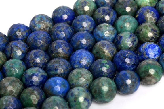 Natural Azurite Loose Beads Micro Faceted Round Shape 6mm 8mm 10mm 12mm