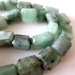 Shop Emerald Bead Shapes! Natural Emerald Faceted Step Cut Tumble Beads, 12mm To 14mm Faceted Emerald Tumbles, Green Emerald Tumbles, 16 Inch Strand, GDS1083 | Natural genuine other-shape Emerald beads for beading and jewelry making.  #jewelry #beads #beadedjewelry #diyjewelry #jewelrymaking #beadstore #beading #affiliate #ad