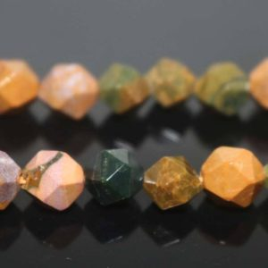 "Shop Ocean Jasper Beads! Natural Faceted Ocean Jasper Nugget Beads,Ocean Jasper Beads,6mm 8mm 10mm Star Cut Faceted beads,one strand 15"",Faceted Ocean Jasper beads 