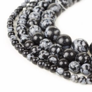 "Shop Snowflake Obsidian Beads! Natural Snowflake Obsidian Beads 4mm 6mm 8mm 10mm 12mm Loose Gemstone Round 15.5"" Full Strand Wholesale 